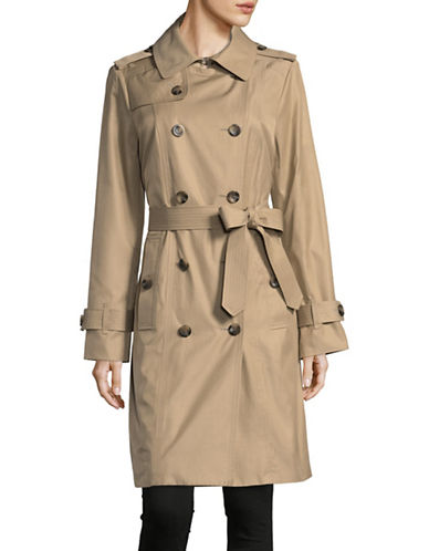 London Fog Hooded Trench Coat with Self-Tie-KHAKI-Small
