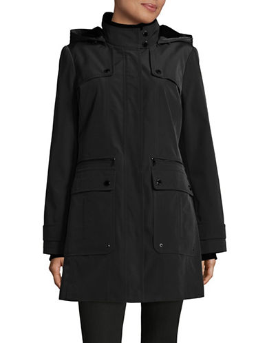 London Fog Knit-Trim Anorak-BLACK-Small