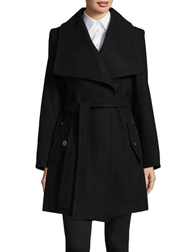 London Fog Wool-Blend Envelope Collar Coat with Belt-BLACK-Medium