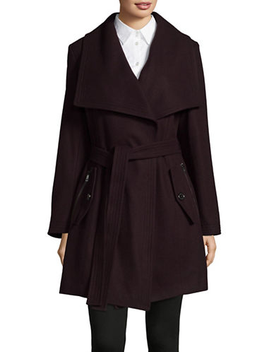 London Fog Wool-Blend Envelope Collar Coat with Belt-BURGUNDY-X-Large
