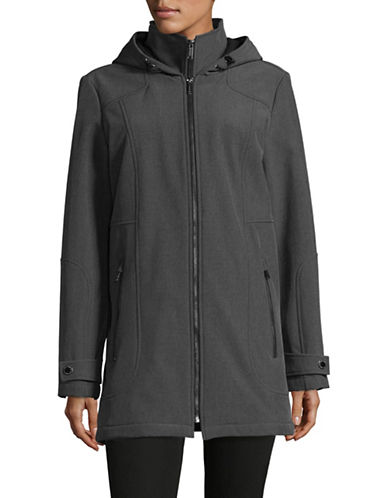 London Fog Softshell Zip Jacket with Gilet-GREY-Large