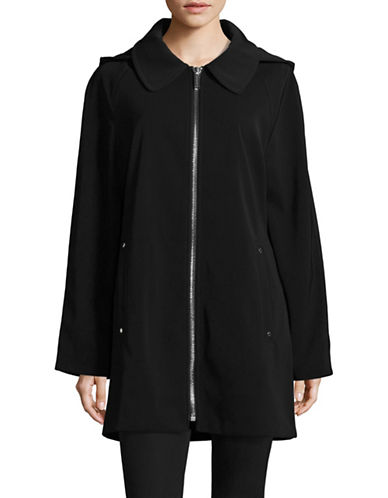 London Fog Hooded A-Line Twill Zip Jacket-BLACK-Large
