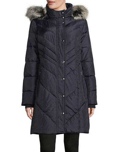 London Fog Chevron Down Walker Coat with Faux Fur Hood-BLUE-X-Small