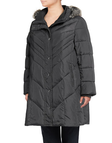 London Fog Chevron Down Walker Coat with Faux Fur Hood-GREY-1X