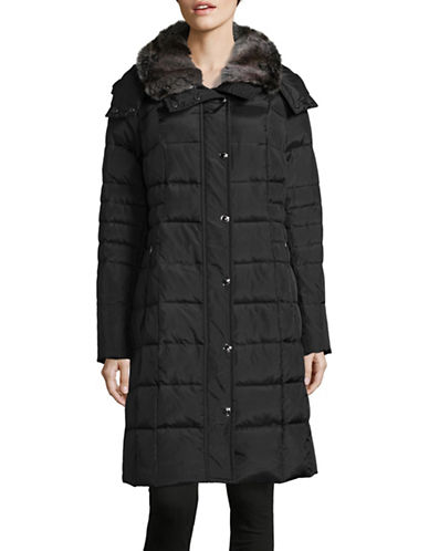 London Fog Long Down Coat with Faux Fur Collar-BLACK-X-Large