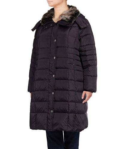 London Fog Long Down Coat with Faux Fur Collar-PURPLE-2X