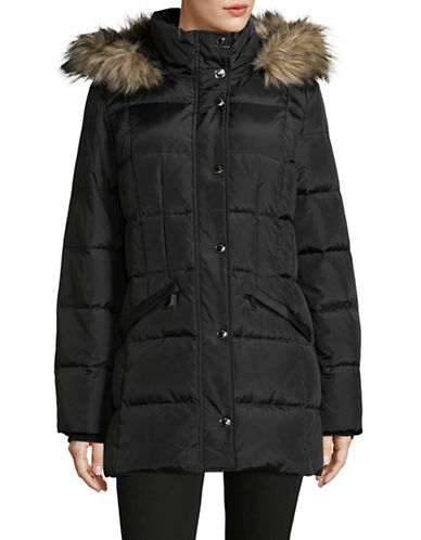 London Fog Hooded Quilted Down-Fill Jacket-BLACK-X-Large 89305235_BLACK_X-Large