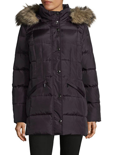 London Fog Hooded Quilted Down-Fill Jacket-PURPLE-Small