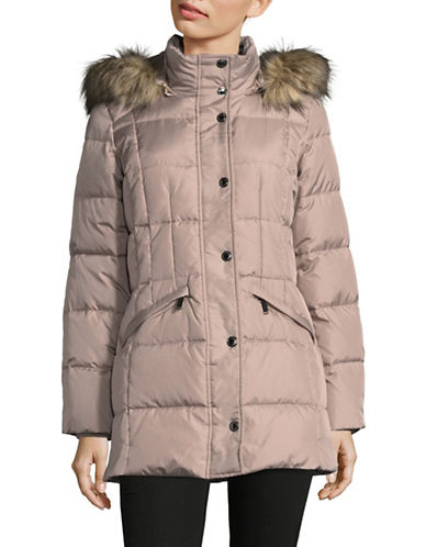 London Fog Hooded Quilted Down-Fill Jacket-ROSEWOOD-Medium