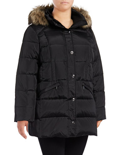 London Fog Faux Fur Trimmed Hood Down Puffer Jacket-BLACK-1X