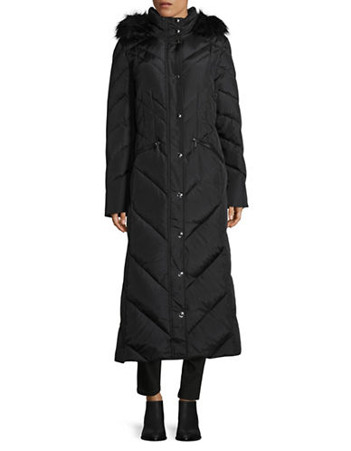 London Fog Maxi Chevron Coat with Faux Fur Hood-BLACK-Medium