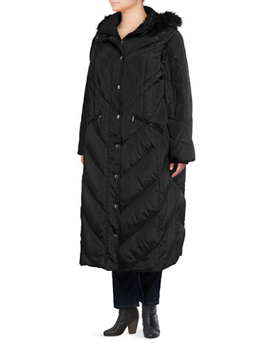 London Fog Maxi Chevron Coat with Faux Fur Hood-BLACK-3X