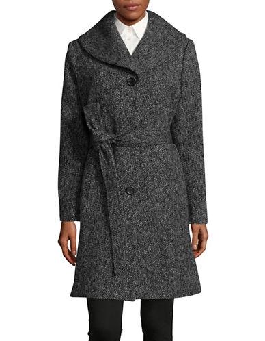 Anne Klein Wool-Blend Belted Walker Coat-BLACK/WHITE-Medium