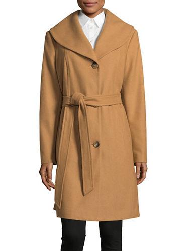 Anne Klein Wool-Blend Belted Walker Coat-CAMEL-Medium