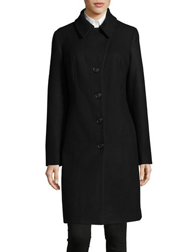 Anne Klein Notch Walker Coat-BLACK-Medium