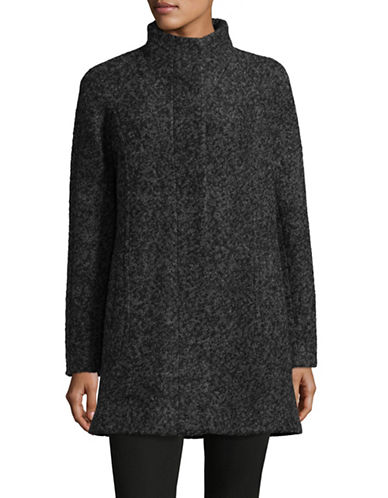 Anne Klein Mock Neck Boucle Jacket-CHARCOAL-X-Large