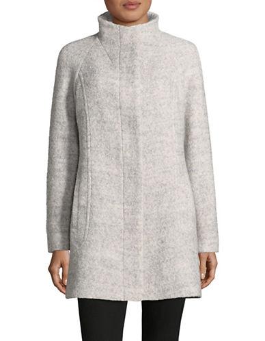 Anne Klein Mock Neck Boucle Jacket-LIGHT GREY-X-Small
