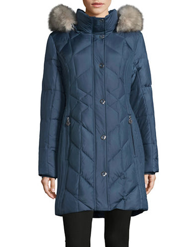 Anne Klein Walker Down Parka-BLUE-X-Small
