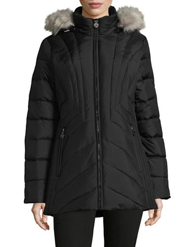 Anne Klein Quilted Hood Parka-BLACK-Small