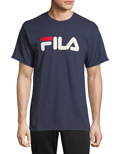 Fila Logo Short-Sleeve Cotton Tee-NAVY-Large