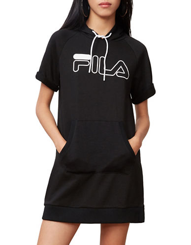 Fila Renee Graphic Sweater Dress-BLACK/WHITE-Large