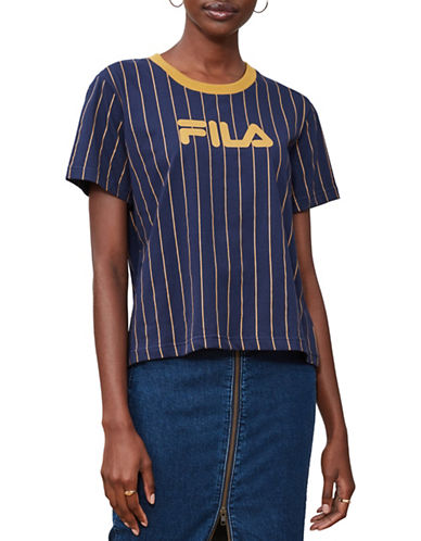 Fila Lonnie Pinstripe Cotton Tee-NAVY-Large