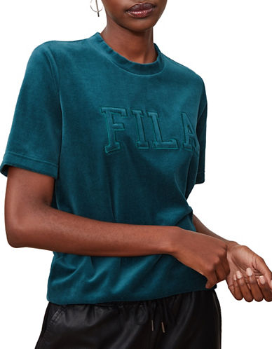 Fila Olivia Velour Tee-TEAL-Large