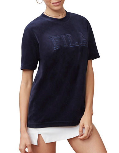Fila Olivia Velour Tee-NAVY-Small