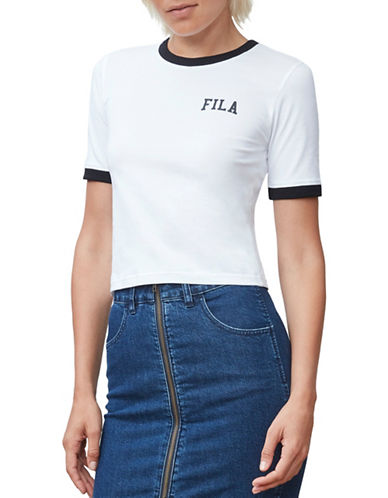 Fila Emmy Lou Ringer Tee-WHITE/BLACK-Medium