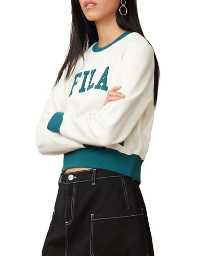Fila Sheena Cropped Sweatshirt-WHITE/GREEN-Small