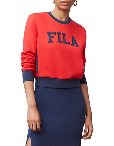 Fila Sheena Cropped Sweatshirt-RED/WHITE-Medium