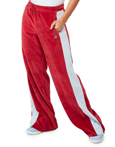Fila Bonnie Velour Pants-RED-X-Small