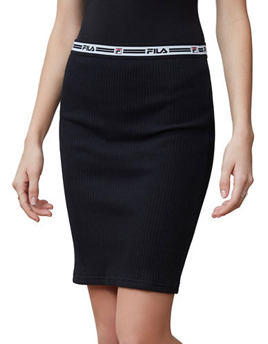 Fila Cathy Ribbed Skirt-BLACK-X-Large