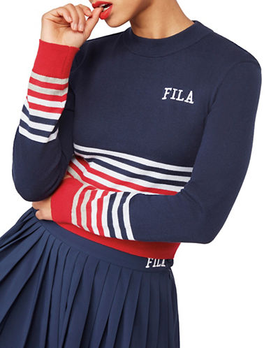 Fila Mariah Crop Sweater-NAVY-X-Large