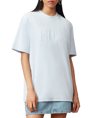 Fila Olivia Velour Tee-BLUE-Large