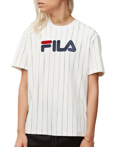 Fila Tux Striped Velour Tee-WHITE-X-Small 89989427_WHITE_X-Small