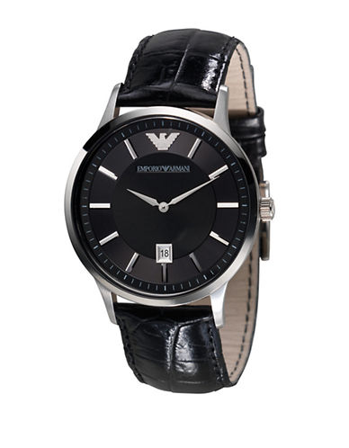 Emporio Armani Mens Large Round Watch-BLACK-One Size
