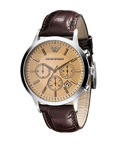 Emporio Armani Emporio Armani Menss Large Round Amber Dial with Chronograph-BROWN-One Size