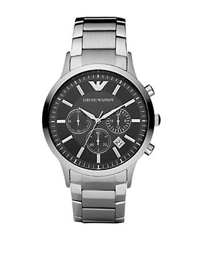 Emporio Armani Men's Black Dial with Stainless Steel Bracelet Watch-SILVER-One Size