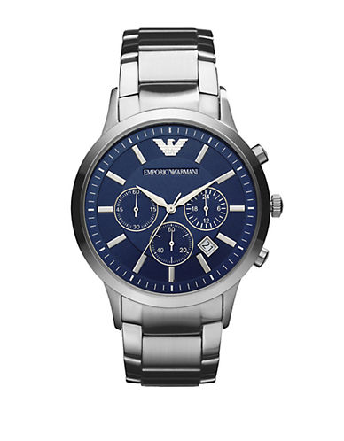 Emporio Armani Mens Large Round Blue Dial with Chronograph and Stainless Steel Bracelet Watch-SILVER-One Size