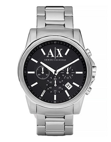 Armani Exchange Mens Silver Watch-SILVER-One Size