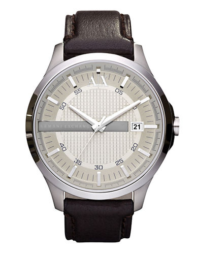 Armani Exchange Mens Analog Stainless Steel Leather Strap Watch-BLACK-One Size