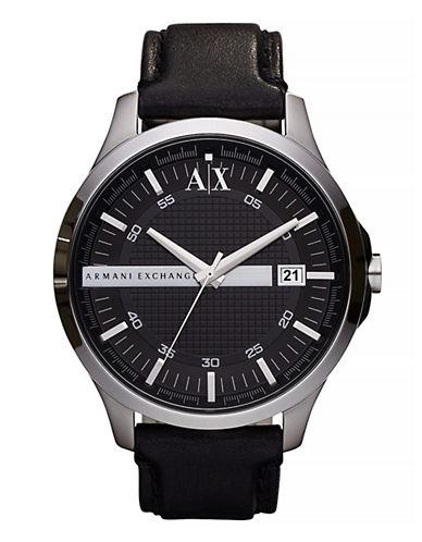 Armani Exchange Men's Whitman Leather Strap Black Watch-BLACK-One Size