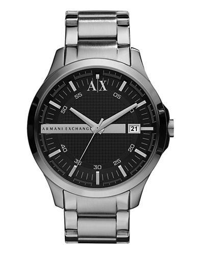 Armani Exchange Mens Round 3 Hand Stainless Steel Black Dial Watch-GREY-One Size