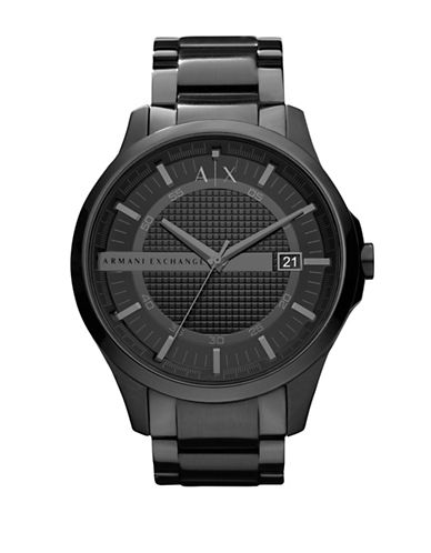 Armani Exchange Mens Round 3 Hand Black IP Stainless Steel  Black Dial Watch-BLACK-One Size