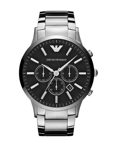 Emporio Armani Mens Large Round Silver Watch-SILVER-One Size