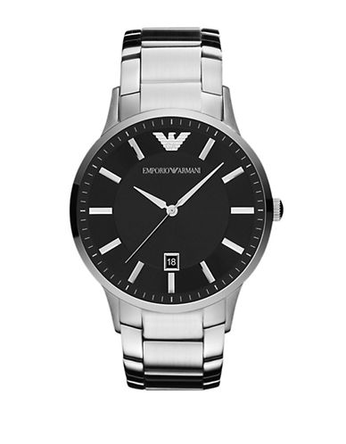 Emporio Armani Large Round Stainless Steel Watch-SILVER-One Size