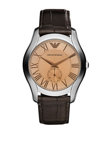 Emporio Armani Large Round Amber Dial with Subsecond on Brown Croco Embossed Leather Strap-BROWN-One Size