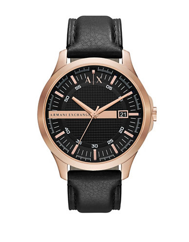 Armani Exchange Rose Gold Plated Case on Black Leather Strap-BLACK-One Size