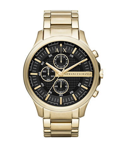 Armani Exchange Mens Gold Stainless Steel Watch-GOLD-One Size